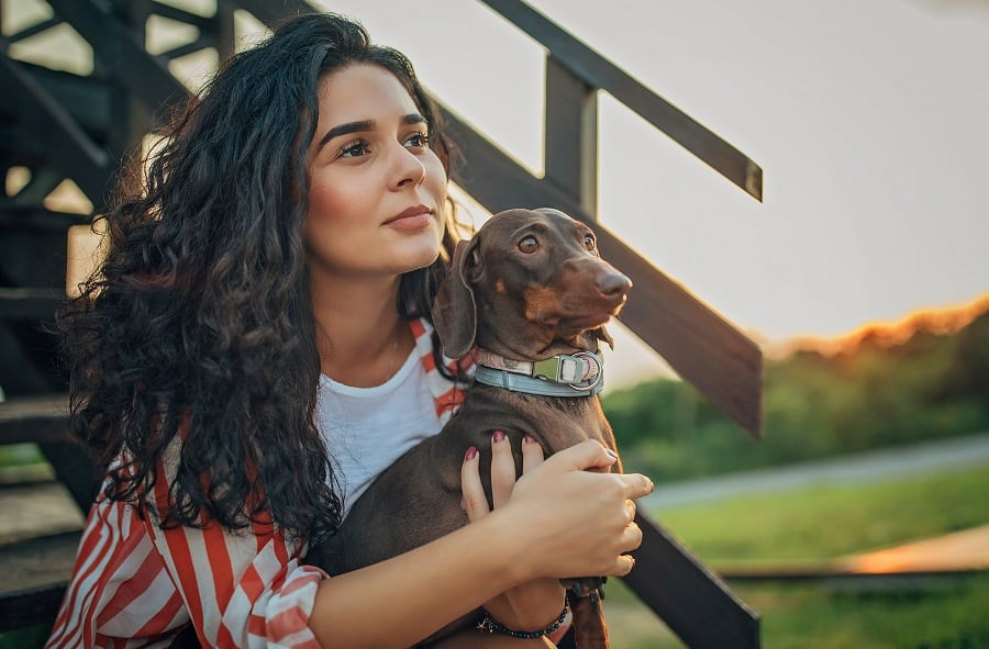 Beautiful young and brave woman with curly hair holding her dachshund
